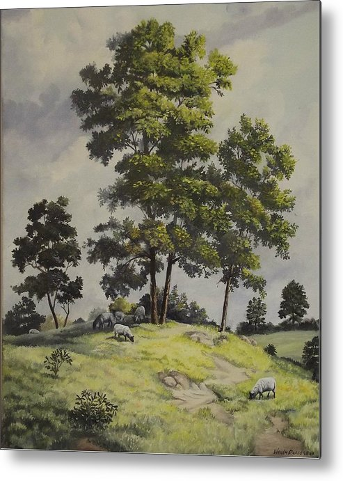 Landscape Metal Print featuring the painting A Lazy Day For Grazing by Wanda Dansereau