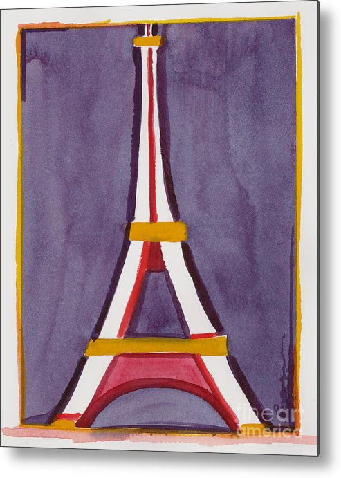 Effel Tower Metal Print featuring the painting Eiffel Tower Purple Red by Robyn Saunders