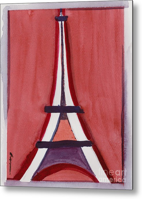Effel Tower Metal Print featuring the painting Eiffel Tower Red White by Robyn Saunders