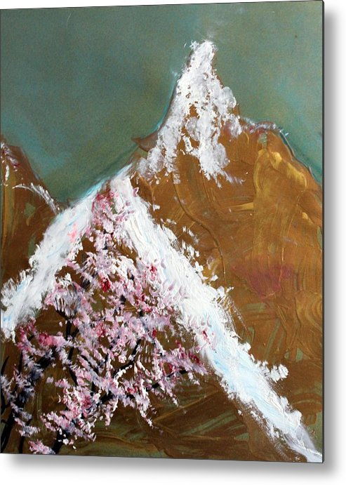 Landscape Metal Print featuring the painting Cherry Blossoms On Gold Mountain by Michela Akers