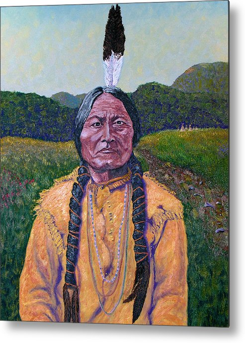 Sitting Bull Metal Print featuring the painting Sitting Bull by Stan Hamilton