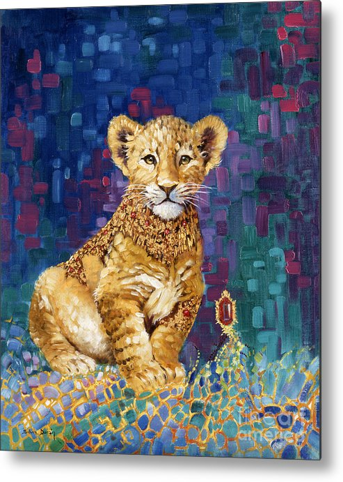 Lion Cub Metal Print featuring the painting Lion Prince by Silvia Duran