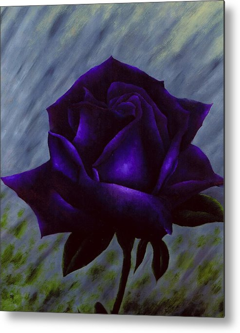 Rose Metal Print featuring the painting Purple Rose by Brandon Sharp