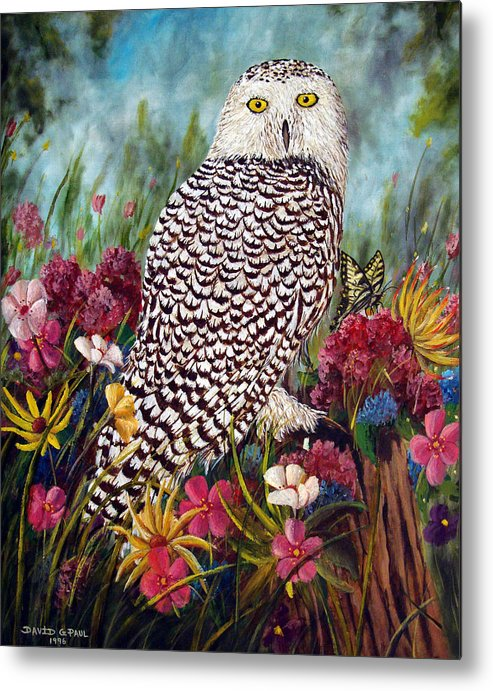 Owl Metal Print featuring the painting Snowy Owl by David G Paul