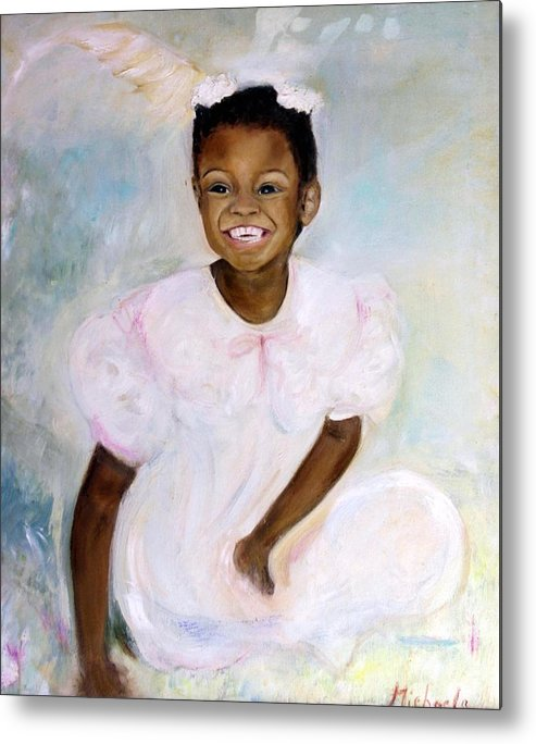 Portrait Metal Print featuring the painting Sunday's Child by Michela Akers