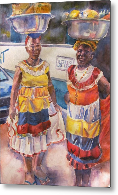 Figures Metal Print featuring the painting Cartegna Ladies by Joyce Kanyuk