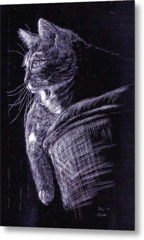 Cat Metal Print featuring the painting Cat At The Window by Roger Parnow