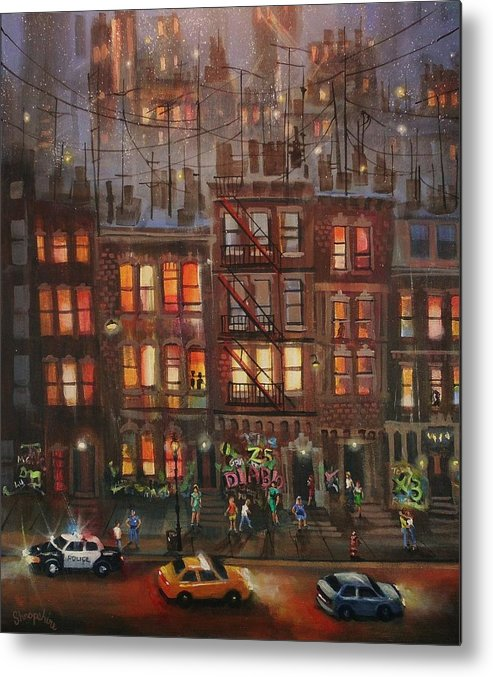 Brownstone Metal Print featuring the painting Street Life by Tom Shropshire
