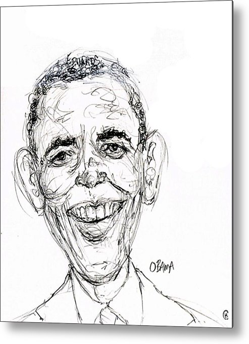 Caricature Satire Political Cartoon Politics Metal Print featuring the drawing Barack Obama by Cameron Hampton PSA