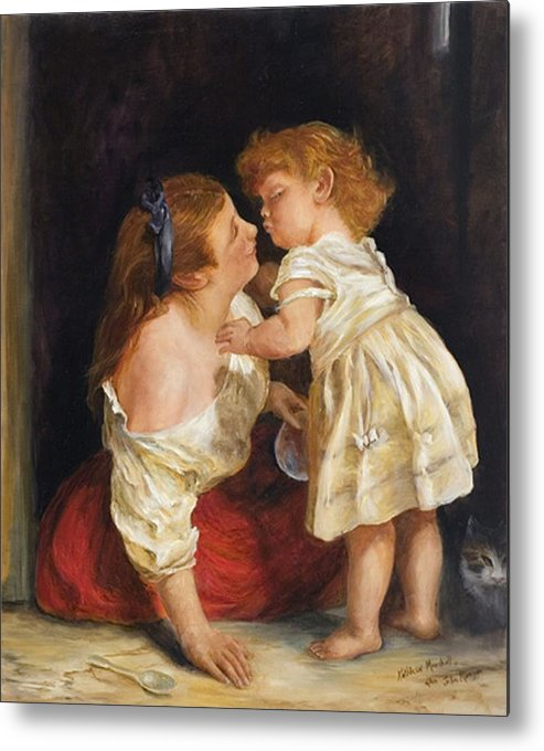 Mother And Child Metal Print featuring the print The Kiss After John Morgan 1800 by Kathleen Marshall McConnell