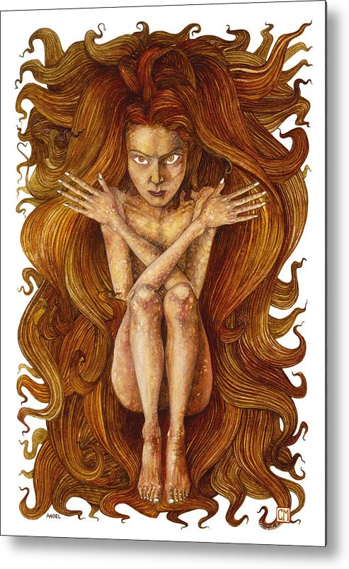 Watercolor Metal Print featuring the painting Angel by Connor Maguire