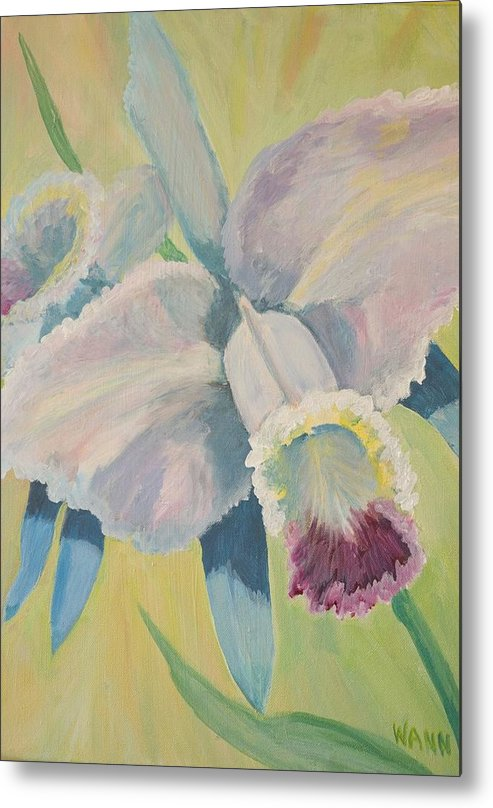 Flower Metal Print featuring the painting Orchid by Anita Wann