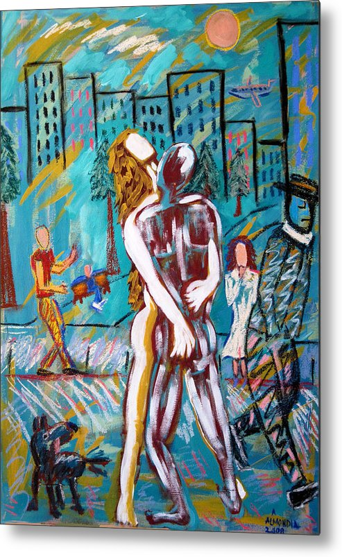 Mixed Media Metal Print featuring the painting Right Here Right Now by Albert Almondia