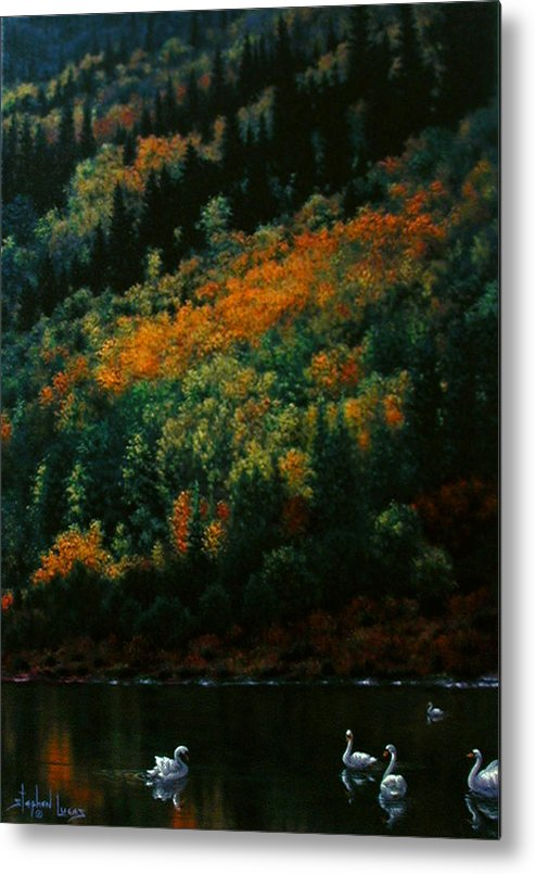 Scenic Metal Print featuring the painting Sentinels Of September Serenity by Stephen Lucas