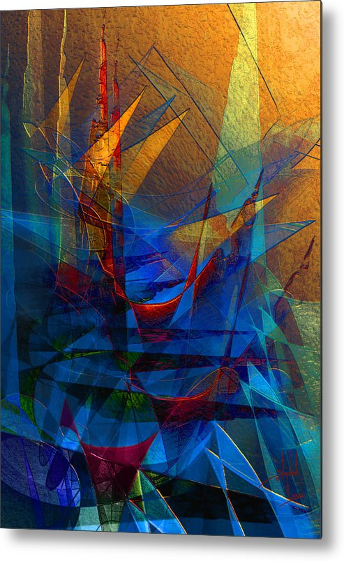 Abstract Metal Print featuring the digital art Stairway Upon Grail Passeges by Stephen Lucas