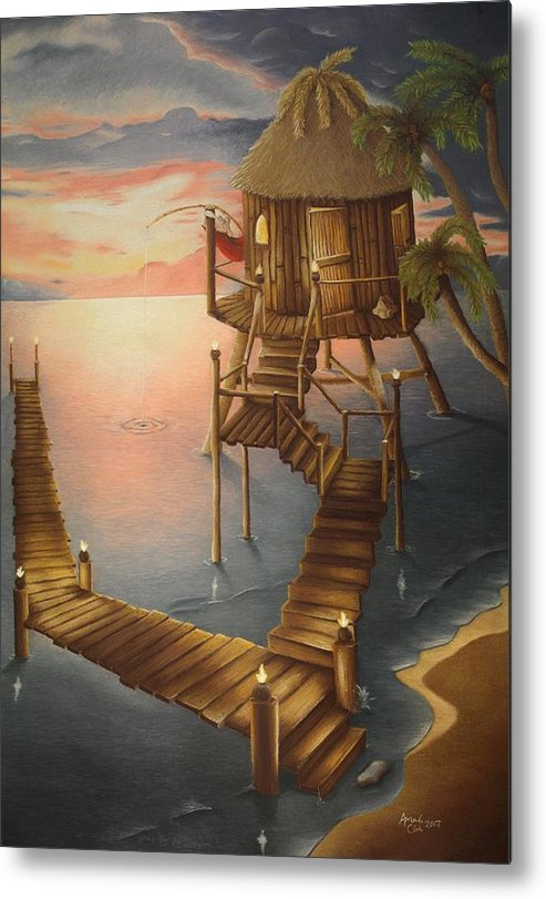 Tiki Metal Print featuring the pastel Tortugan Riviera by Amanda Clark