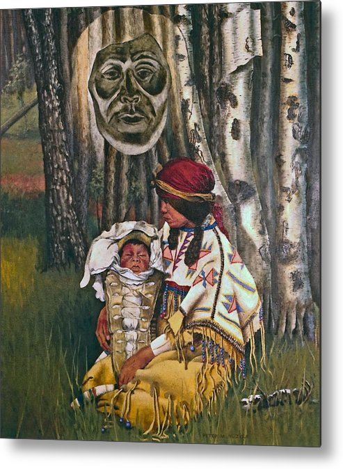 Native American Metal Print featuring the painting Birth Spirit by Peter Muzyka