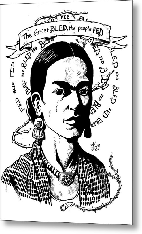 Frida Metal Print featuring the drawing Frida by Marcus Anderson