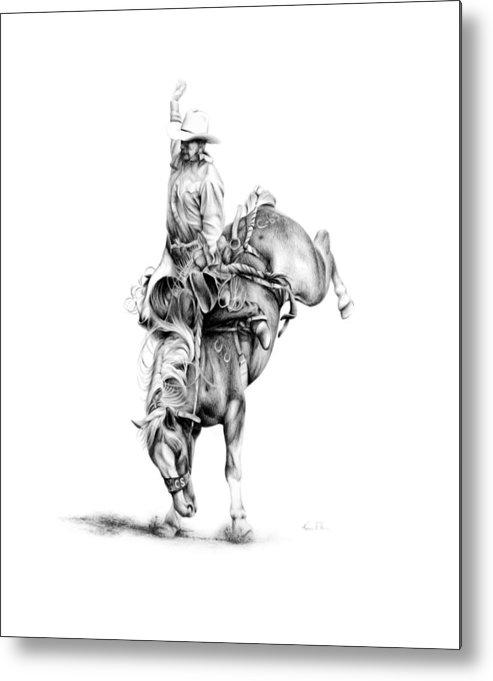 Rodeo Scene Metal Print featuring the drawing A Good Ride by Karen Elkan