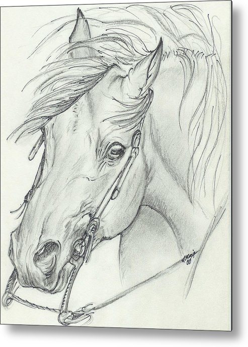 Pencil Metal Print featuring the drawing I am ready by Lilly King