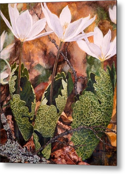 Flowers Metal Print featuring the painting Puccoon by Thomas Akers