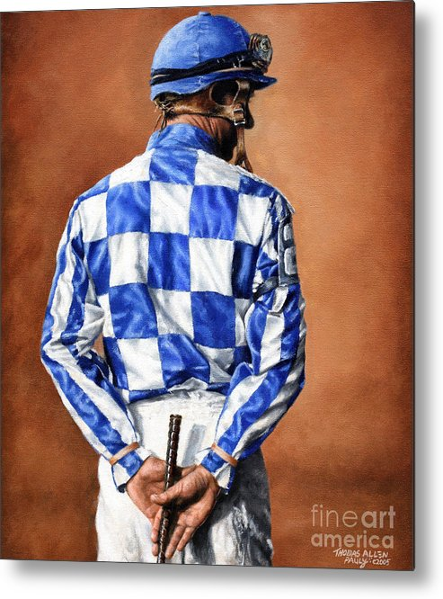 Secretariat Metal Print featuring the painting Waiting for Secretariat by Thomas Allen Pauly