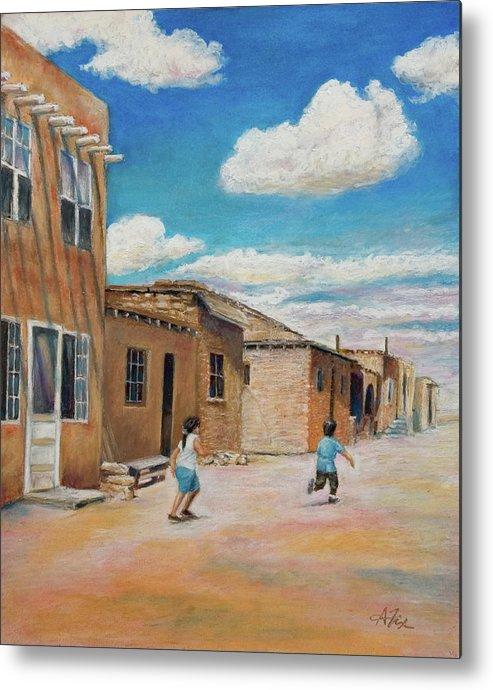 Pueblo Metal Print featuring the painting Pueblo Playground by Arthur Fix