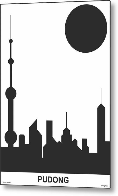 Shanghai Sunshine Metal Print featuring the digital art Shanghai Sunshine Black White by Asbjorn Lonvig