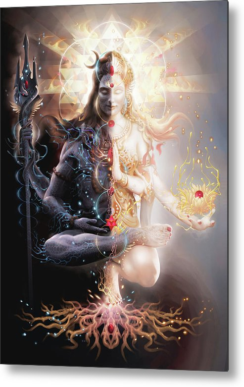 Ardhnarishwar Metal Print featuring the digital art Tantric Marriage by George Atherton