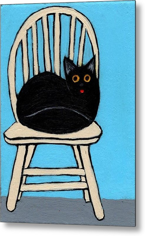 Black Cat in Chair with blue background  by Sherry Rusinack