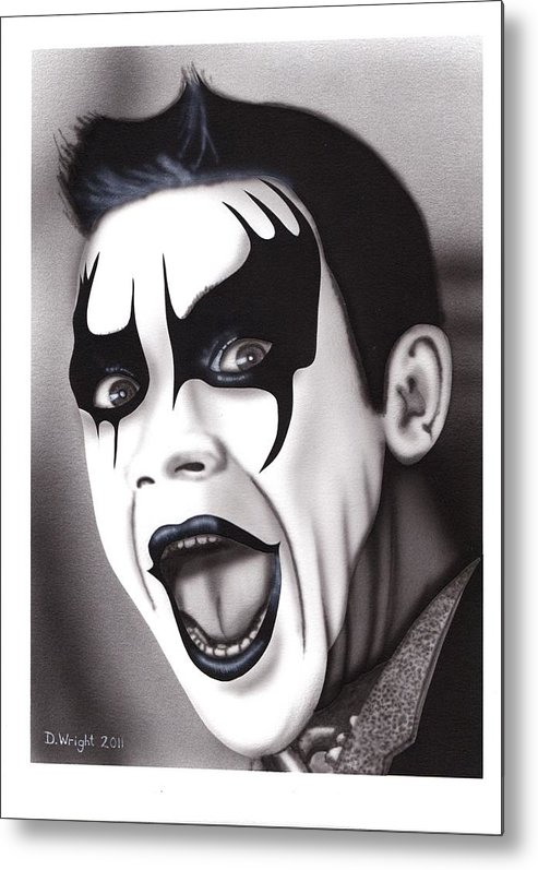 Robbie Metal Print featuring the painting Let Me Entertain You by David Wright