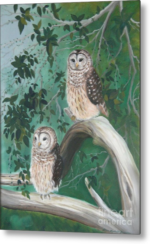 Owls Metal Print featuring the painting Night Owls by Lora Duguay