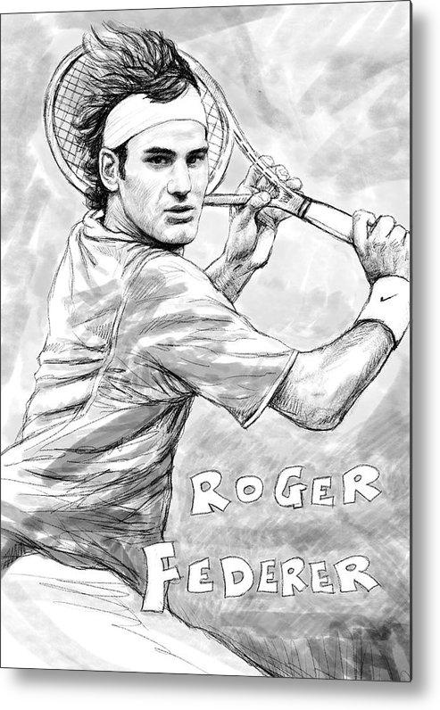 Roger Federer Art Drawing Sketch Portrait Metal Print featuring the painting Roger Federer Art Drawing Sketch Portrait by Kim Wang