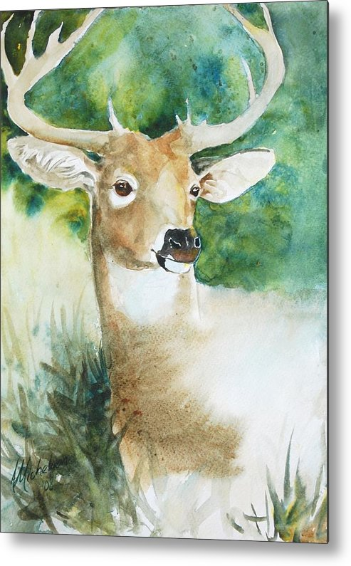 Deer Metal Print featuring the painting Forest Spirit by Christie Martin