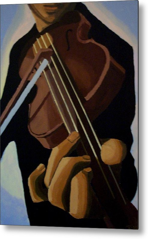 Portrait Metal Print featuring the painting Violin Player by Mats Eriksson