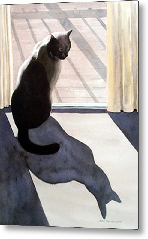 Cat Metal Print featuring the print Waiting To Go Out by Anne Trotter Hodge