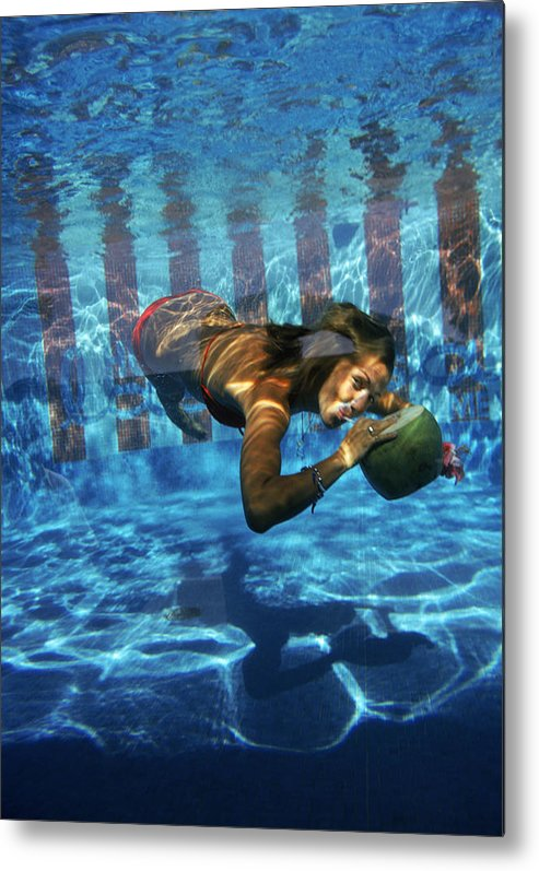 Underwater Metal Print featuring the photograph Underwater Drink by Slim Aarons