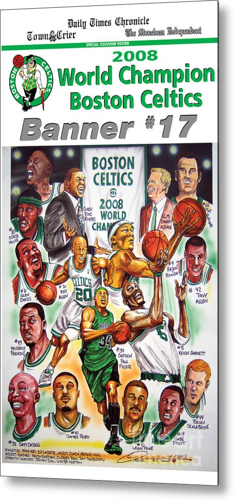 Nba Metal Print featuring the drawing 2008 Boston Celtics Team Poster by Dave Olsen