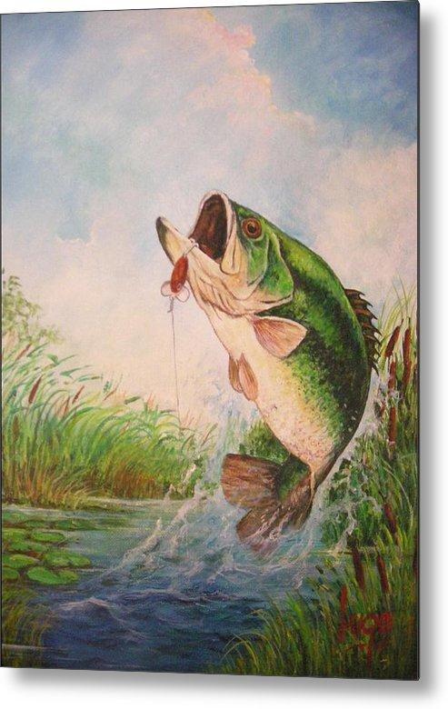 Largemouth Metal Print featuring the painting Largemouth Bass by Jose Lugo