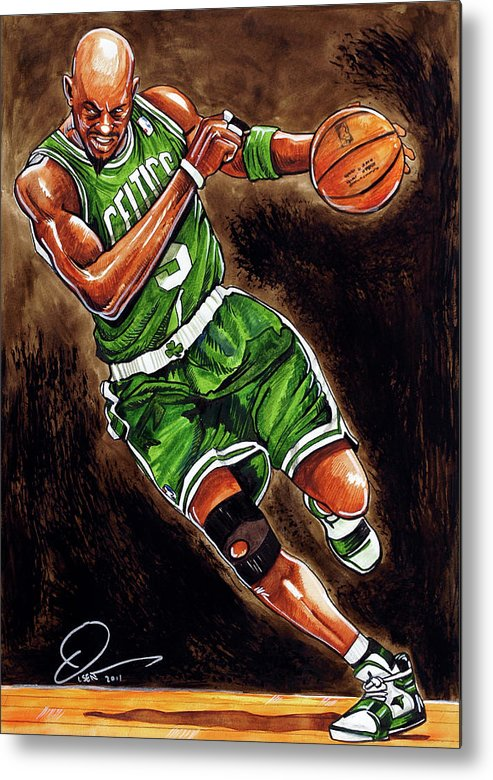 Kevin Garnett Metal Print featuring the painting Kevin Garnett by Dave Olsen