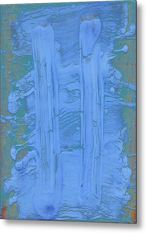 Blue Metal Print featuring the painting Blue Fragments by F Michael Wells