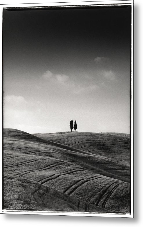 Tuscany Metal Print featuring the photograph Tuscany Twin Cypresses by Michael Hudson