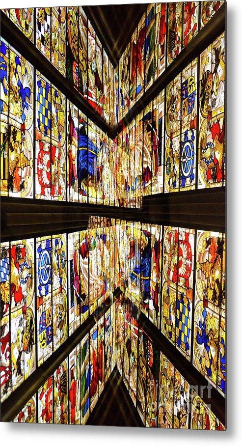 Stained Glass Windows Metal Print featuring the photograph Cathedral Window Montage by Thomas Carroll