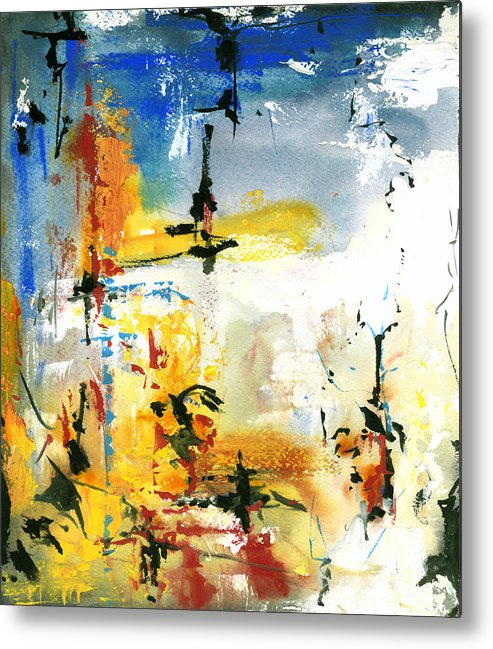 Watercolor Print Abstract Watercolor Painting Modern Print Contemporary Printgouache Metal Print featuring the painting Oz by Ralf M Broughton
