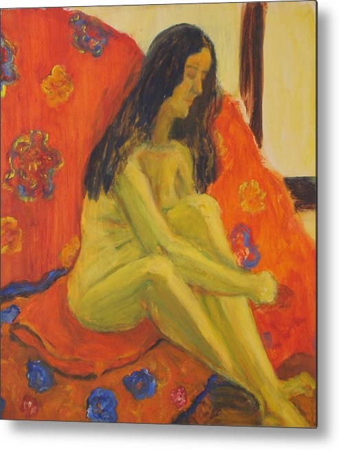 Yellow Metal Print featuring the painting Yellow Nude by Lessandra Grimley