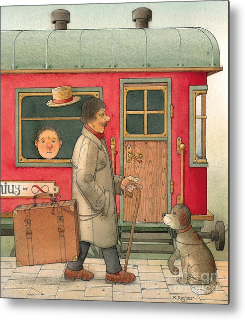 Dream Suitcase Train Trip Travel Metal Print featuring the painting Dream Suitcase by Kestutis Kasparavicius