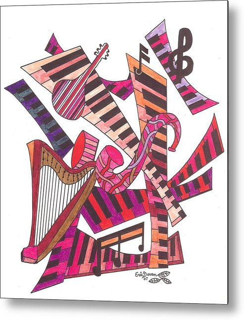 Music Metal Print featuring the drawing Symphony by Eric Devan