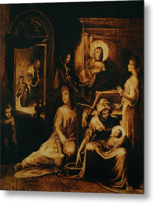 Dino Muradian Metal Print featuring the pyrography The Birth Of The Virgin by Dino Muradian