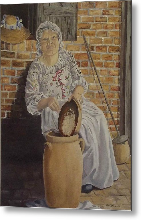 Historic Metal Print featuring the painting Churning Butter by Wanda Dansereau