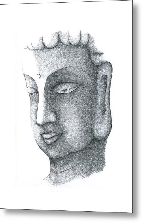 Buddha Metal Print featuring the drawing Stillness by Keiko Katsuta